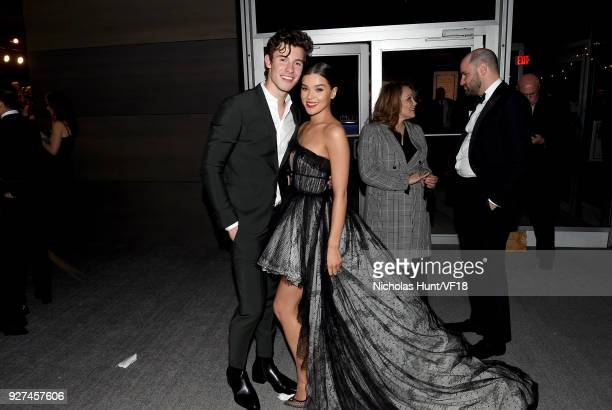 Actress Hailee Steinfeld and singer Shawn Mendes attend the 2018 Vanity Fair Oscar Party hosted by Radhika Jones at Wallis Annenberg Center for the...