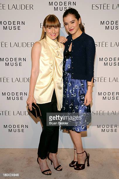 Actress Hailee Steinfeld and Teen Vogue EditorInChief Amy Astley attend the Estee Lauder 'Modern Muse' Fragrance Launch Party at the Guggenheim...