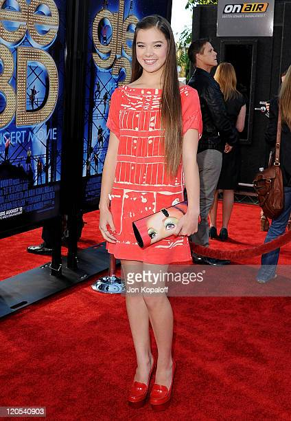 """Actress Hailee Steinfeld arrives at the Los Angeles Premiere """"GLEE: The 3D Concert Movie"""" at Regency Village Theatre on August 6, 2011 in Westwood,..."""