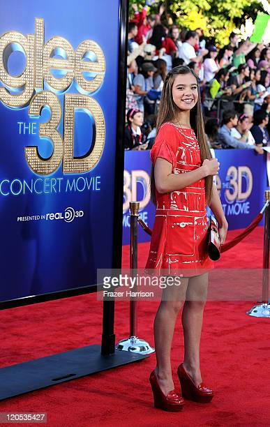 Actress Hailee Steinfeld arrives at the Premiere Of Twentieth Century Fox's 'Glee The 3D Concert Movie' at the Regency Village Theater on August 6...