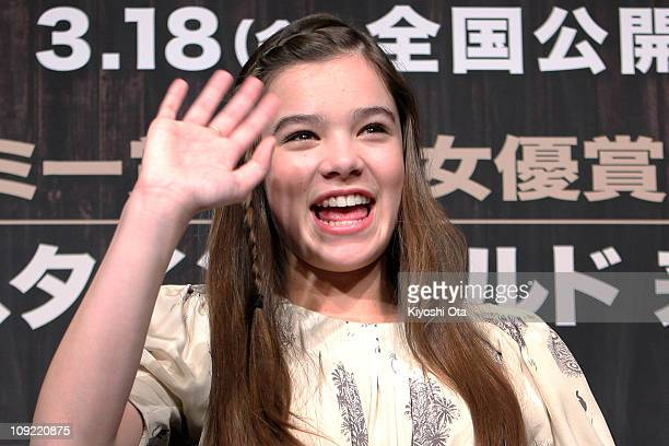 Actress Hailee Steinfeld attends a press conference for 'True Grit' at The Peninsula Tokyo on February 17 2011 in Tokyo Japan