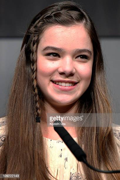 Actress Hailee Steinfeld attends a press conference for 'True Grit' at The Peninsula Tokyo on February 17 2011 in Tokyo Japan The film will open in...