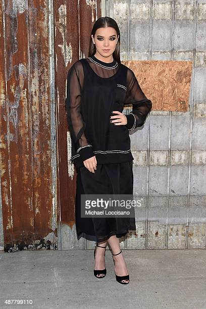 Actress Hailee Steinfeld attends the Givenchy fashion show during Spring 2016 New York Fashion Week at Pier 26 at Hudson River Park on September 11...