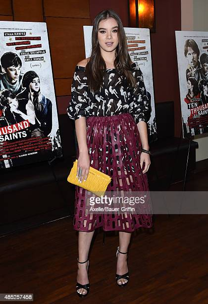 Actress Hailee Steinfeld attends the premiere of 'Ten Thousand Saints' at Piknic on August 11, 2015 in Century City, California.