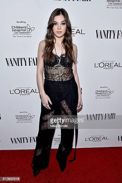 Actress Hailee Steinfeld attends Vanity Fair L'Oreal Paris Hailee Steinfeld host DJ Night at Palihouse Holloway on February 26 2016 in West Hollywood...