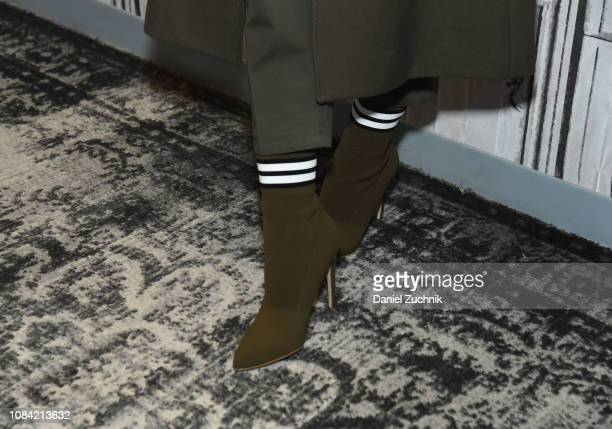 Actress Hailee Steinfeld, boot detail, attends the Build Series to discuss her new film 'Bumblebee' at Build Studio on December 18, 2018 in New York...