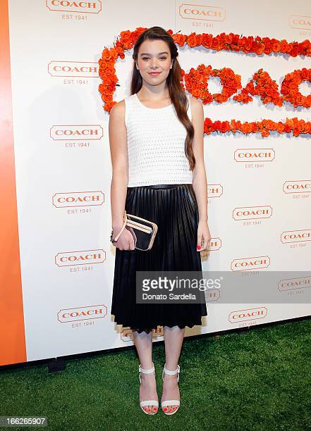 Actress Hailee Steinfeld carrying Coach attends Coach's 3rd Annual Evening of Cocktails and Shopping to Benefit the Children's Defense Fund hosted by...