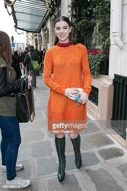 Actress Hailee Steinfeld is seen during the Paris Fashion Week Fall Winter 2015/2016 on March 6 2015 in Paris France