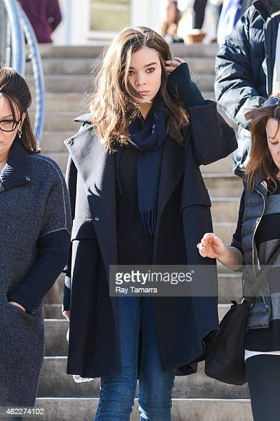 Actress Hailee Steinfeld leaves the Getty Image studio on January 25 2015 in Park City Utah