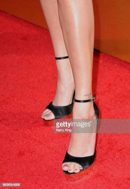 Actress Hailey Baldwin shoe detail attends #REVOLVEawards at DREAM Hollywood on November 2 2017 in Hollywood California