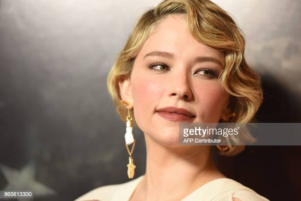 Actress Haley Bennett arrives for the premiere of Thank You For Your Service October 23 at the Regal LA Live in Los Angeles California / AFP PHOTO /...