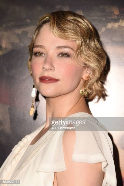 Actress Haley Bennett arrives for the premiere of Thank You For Your Service October 23 2017 at the Regal LA Live in Los Angeles California / AFP...