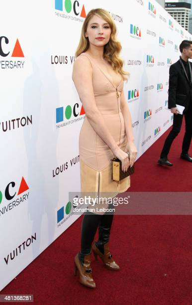 Actress Haley Bennett wearing Louis Vuitton attends MOCA's 35th Anniversary Gala presented by Louis Vuitton at The Geffen Contemporary at MOCA on...