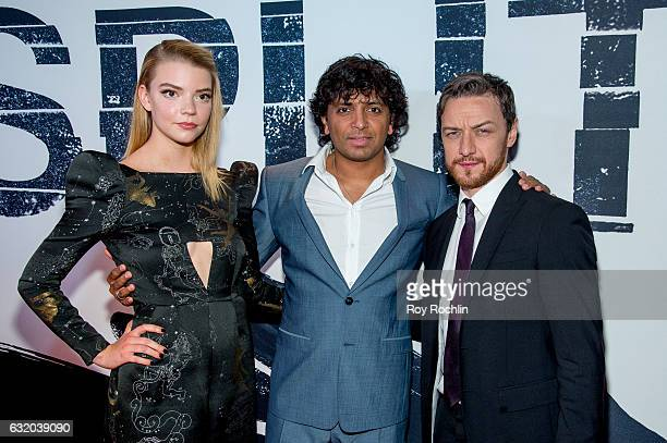 Actress Haley Lu Richardson director/writer M Night Shyamalan and actor James McAvoy attends the 'Split' New York Premiere at SVA Theater on January...