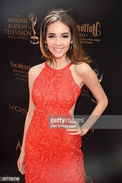 Actress Haley Pullos walks the red carpet at the 43rd Annual Daytime Emmy Awards at the Westin Bonaventure Hotel on May 1 2016 in Los Angeles...