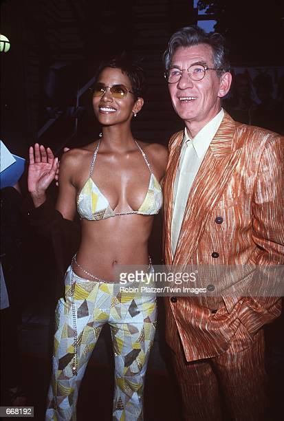Actress Halle Berry and actor Ian McKellen attend the premiere of the new movie XMen July 12 2000 at Ellis Island NY