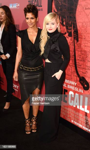 Actress Halle Berry and actress Abigail Breslin arrive at the premiere Of Tri Star Pictures' 'The Call' at ArcLight Cinemas on March 5 2013 in...