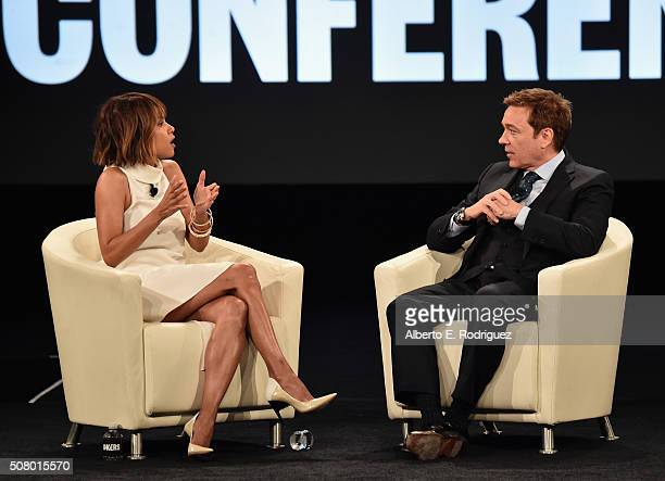 Actress Halle Berry and CAA agent Kevin Huvane speak at the AOL 2016 MAKERS conference at Terranea Resort on February 2 2016 in Rancho Palos Verdes...