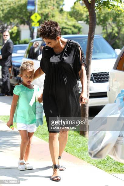 Actress Halle Berry and her daughter Nahla Ariela Aubry as seen on May 20 2013 in Los Angeles California