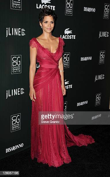 Actress Halle Berry arrives at the 13th Annual Costume Designers Guild Awards with presenting sponsor Lacoste held at The Beverly Hilton hotel on...