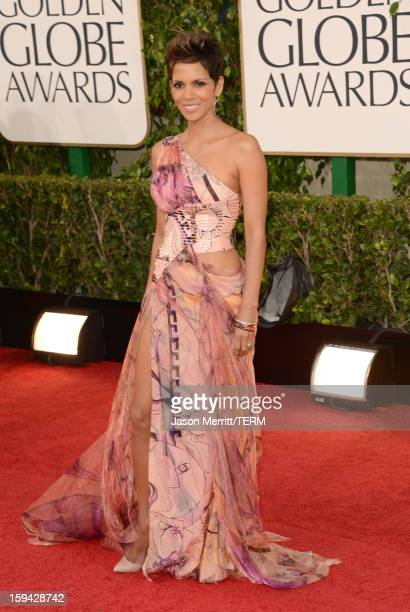 Actress Halle Berry arrives at the 70th Annual Golden Globe Awards held at The Beverly Hilton Hotel on January 13 2013 in Beverly Hills California