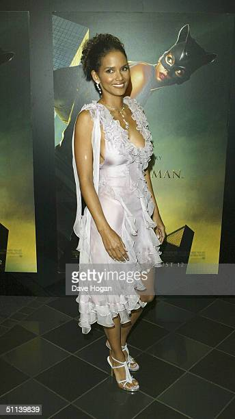 """Actress Halle Berry arrives at the European Premiere of """"Catwoman"""" at Vue Leicester Square on August 3, 2004 in London."""