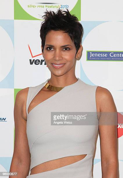 Actress Halle Berry arrives to Jenesse Center's 30th Anniversary Silver Rose Weekend at the Beverly Hills Hotel on April 18 2010 in Beverly Hills...