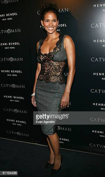 """Actress Halle Berry attends a """"Catwoman"""" - inspired party on July 21, 2004 at Henri Bendel, in New York City."""