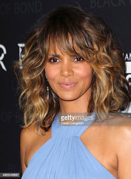 Actress Halle Berry attends Spectre The Black Women of Bond tribute at the California African American Museum on November 3 2015 in Los Angeles...