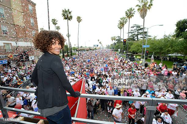 Actress Halle Berry attends the 19th Annual EIF Revlon Run/Walk For Women at Los Angeles Memorial Coliseum on May 12 2012 in Los Angeles California