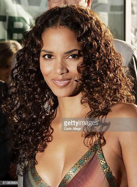"""Actress Halle Berry attends the premiere of Warner Bros. """"Catwoman"""" at the ArcLight Theatre on July 19, 2004 in Hollywood, California."""