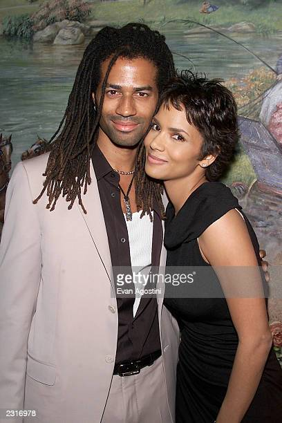 Actress Halle Berry Best Actress winner for Monster's Ball with husband Eric Benet at the 2001 National Board Of Review Awards Gala at...