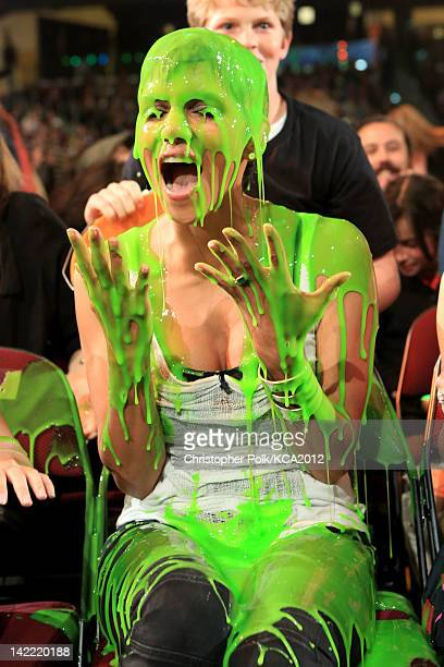 Actress Halle Berry gets slimed at Nickelodeon's 25th Annual Kids' Choice Awards held at Galen Center on March 31 2012 in Los Angeles California