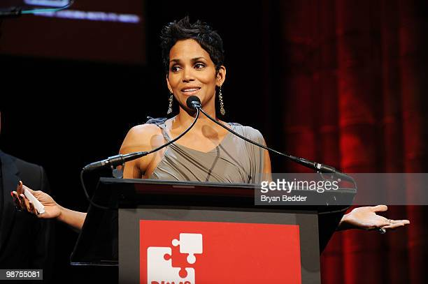 Actress Halle Berry speaks onstage at the DKMS' 4th Annual Gala Linked Against Leukemia at Cipriani 42nd Street on April 29 2010 in New York City