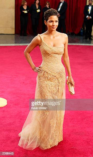Actress Halle Berry wearing Harry Winston jewelry attends the 75th Annual Academy Awards at the Kodak Theater on March 23 2003 in Hollywood California