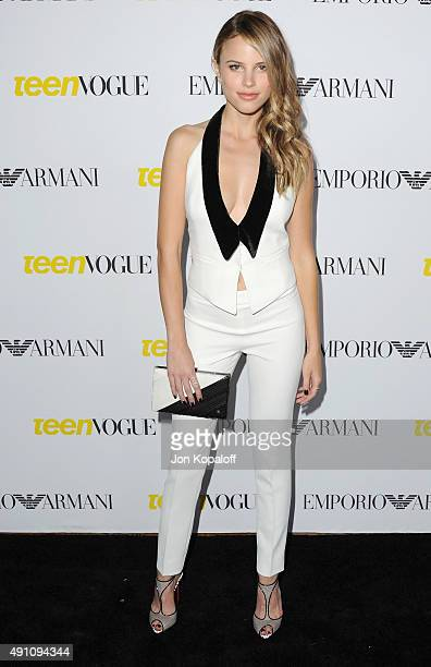 Actress Halston Sage arrives at Teen Vogue's 13th Annual Young Hollywood Issue Launch Party on October 2 2015 in Los Angeles California