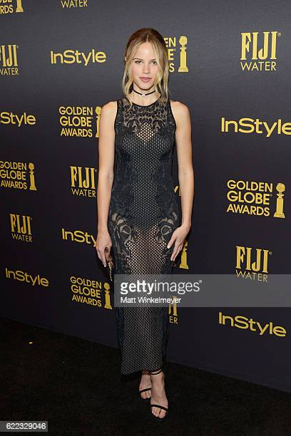 Actress Halston Sage arrives at the Hollywood Foreign Press Association and InStyle celebrate the 2017 Golden Globe Award Season at Catch LA on...
