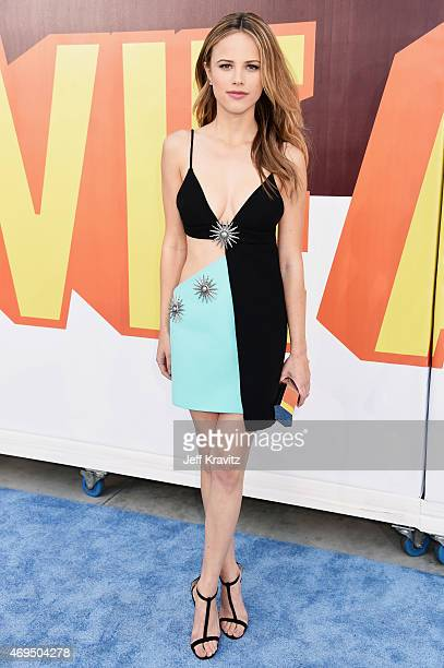 Actress Halston Sage attends The 2015 MTV Movie Awards at Nokia Theatre LA Live on April 12 2015 in Los Angeles California