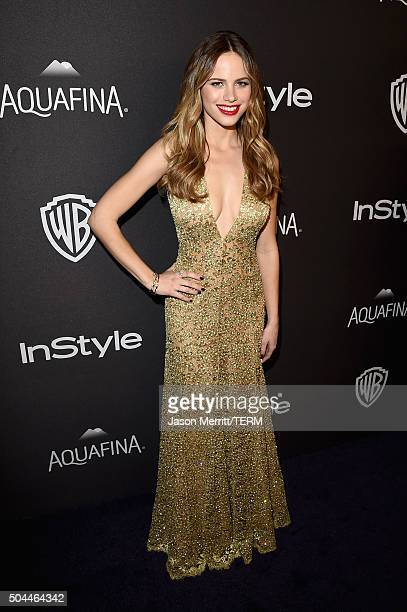 Actress Halston Sage attends The 2016 InStyle And Warner Bros 73rd Annual Golden Globe Awards PostParty at The Beverly Hilton Hotel on January 10...
