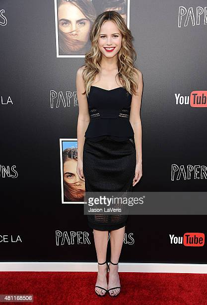 Actress Halston Sage attends the Paper Towns QA and live concert at YouTube Space LA on July 17 2015 in Los Angeles California