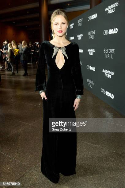 Actress Halston Sage attends the Premiere Of Open Road Films' 'Before I Fall' at the Directors Guild Of America on March 1 2017 in Los Angeles...