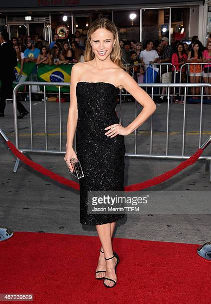 """Actress Halston Sage attends Universal Pictures' """"Neighbors"""" premiere at Regency Village Theatre on April 28, 2014 in Westwood, California."""