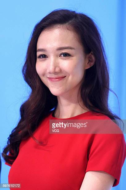 Actress Han Wenwen attends the press conference of a TV show on August 29 2016 in Beijing China