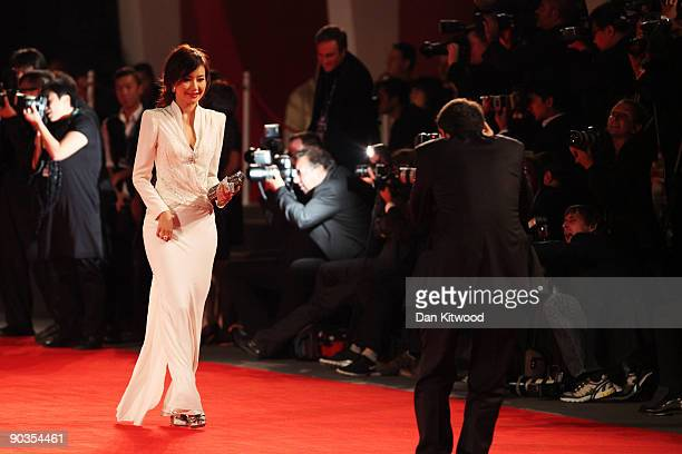 """Actress Han Yuqin attends the """"Accident"""" premiere at the Sala Grande during the 66th Venice Film Festival on September 5, 2009 in Venice, Italy."""