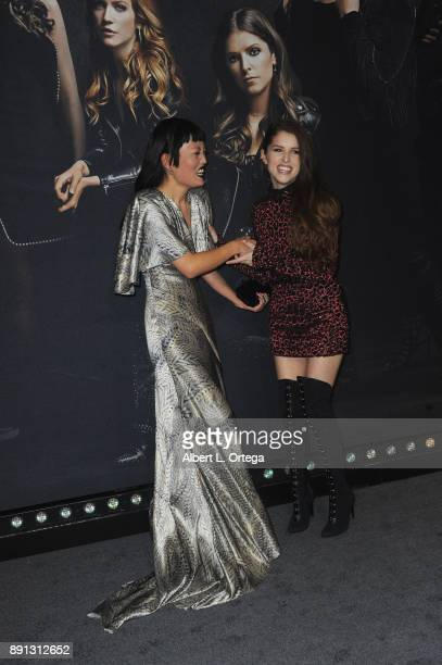 Actress Hana Mae Lee and actress Anna Kendrick arrives for the premiere of Universal Pictures' 'Pitch Perfect 3' held at The Dolby Theater on...