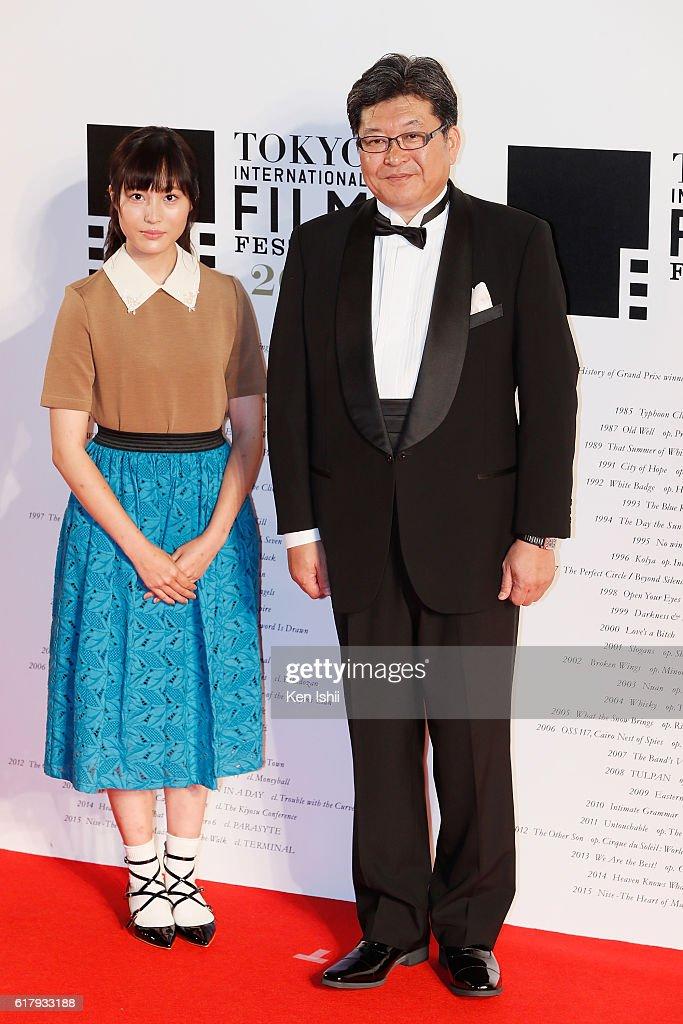 Actress Hana Matsumoto (L), and Koichi Hagiuda, Deputy Chief Cabinet Secretary, attend the Tokyo International Film Festival 2016 Opening Ceremony at Roppongi Hills on October 25, 2016 in Tokyo, Japan.