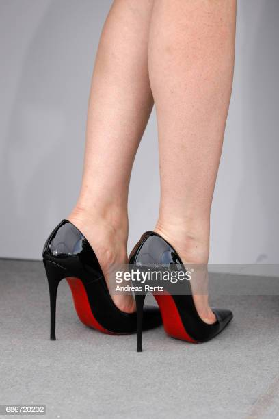 Actress Hania Amar shoe details during 'Waiting For Swallows ' photocall during the 70th annual Cannes Film Festival at Palais des Festivals on May...