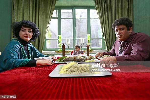 Actress Hanieh Tavassoli and Actor Nader Soleymani look on during 'Sperm Whale' Movie on October 19 2014 in Tehran Iran