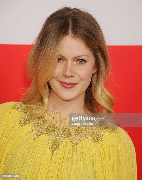 Actress Hanna Alstrom arrives at the Los Angeles premiere of The Gunman at Regal Cinemas LA Live on March 12 2015 in Los Angeles California
