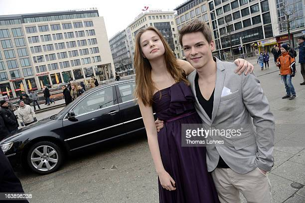Actress Hanna Binke and Actor Marvin Linke pose for the premiere of the film Ostwind on March 17 2013 in Frankfurt am Main Germany The family film...